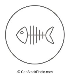 Fish skeleton line icon - Fish skeleton line icon for web,...