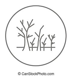 Tree with bare branches line icon.