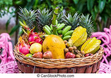 Un, grande, variedad, de, exótico, frutas, en, Un,...