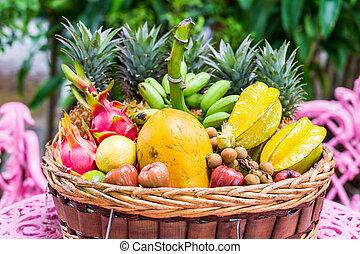 exótico, grande, frutas, cesta, variedad