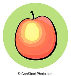 Hand drawn peach on green background. - Hand drawn peach on...