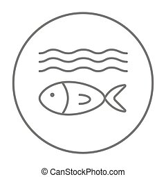 Fish under water line icon - Fish under water line icon for...