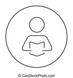 Man reading book line icon. - Man reading a book line icon...
