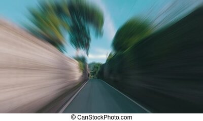 Speedy Driving on a Narrow Road in Forest, sunny weather