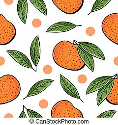 Seamless hand drawn tangerine pattern on white background...