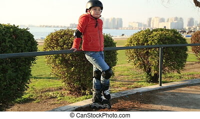 Portrait of a young skater boy - Happy young skater smiling...