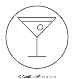 Cocktail glass line icon - Cocktail glass line icon for web,...