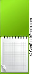 Open green notebook with page curl