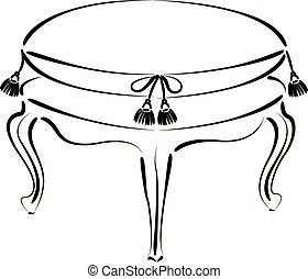 Elegant sketched stool banquette. Stool vector illustration.