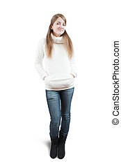 Long-haired teen girl in sweater over white - Isolated full...