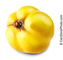 apple quince Isolated on white background Clipping Path