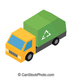 Garbage truck isometric 3d icon for web and mobile devices