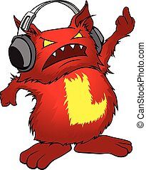 Evil little red cartoon monster with headphones.