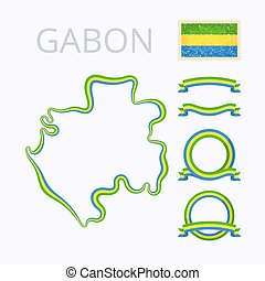 Colors of Gabon - Outline map of Gabon Border is marked with...