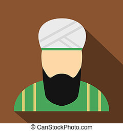 Muslim man flat icon. Single character in national dress