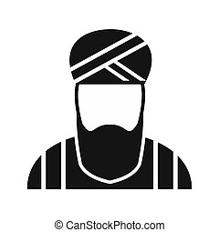 Muslim man simple icon Single character in national dress