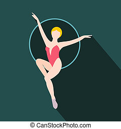 Woman trapeze artist flat icon. Air gymnast on the hoop