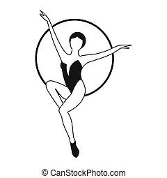 Woman trapeze artist simple icon. Air gymnast on the hoop