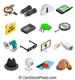 Spy isometric 3d icons set isolated on white background