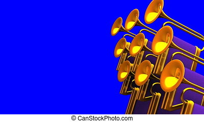 Fanfare On Blue Chroma key Text Space 3D render Animation