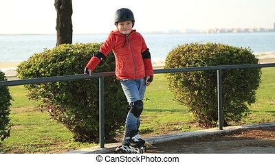 Young skater boy ready to ride - Portrait of a young skater...