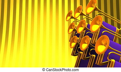 Fanfare On Gold Text Space 3D render Animation