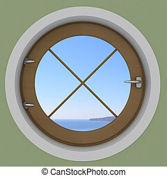 Round window in the interior with a sea view