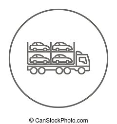 Car carrier line icon - Car carrier line icon for web,...