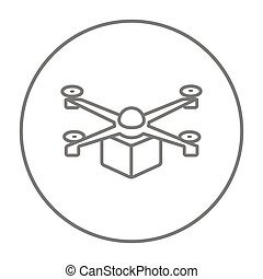 Drone delivering package line icon. - Drone delivering a...
