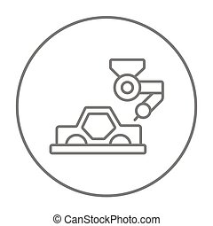 Car production line icon. - Automated assembly line for cars...