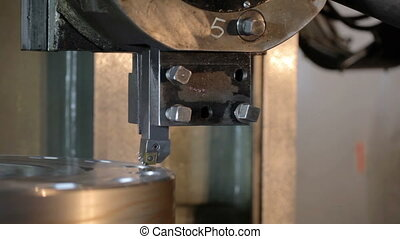 Industrial lathe works metal in Factory - Industrial lathe...