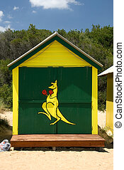 Beach Hut - A beach hut, painted with the Boxing Kangaroo,...