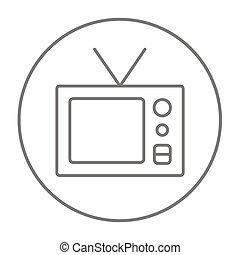 Retro television line icon - Retro television line icon for...