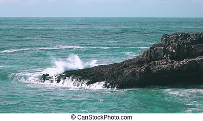 Ocean Waves Breaking on Rock Boca do Inferno, slow motion