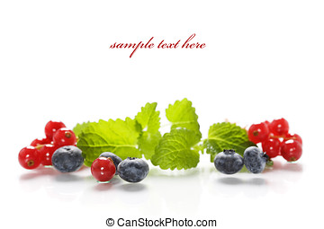 Isolated fresh berries with mint