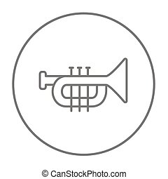 Trumpet line icon - Trumpet line icon for web, mobile and...