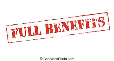 Full benefits - Rubber stamp with text full benefits inside,...