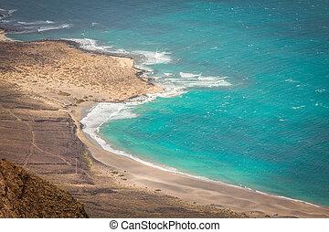 view of the part of Graciosa Island from Mirador del Rio,...