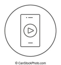 Smartphone line icon - Smartphone with play button on a...