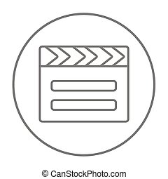 Clapboard line icon - Clapboard line icon for web, mobile...