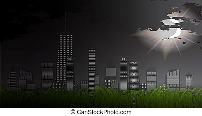 Business city in background of sunset. Vector Illustration