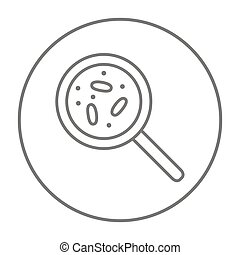 Microorganisms under magnifier line icon - Microorganisms...