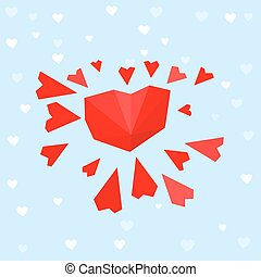 heart sun postcard - The illustration of polygonal graphic...
