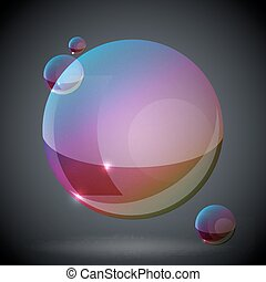 soap bubble on black background TWO - editable vector image...