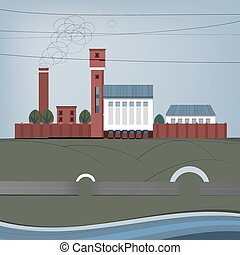 01 City Factory - Vector illustration of abstract City...