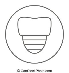 Tooth implant line icon - Tooth implant line icon for web,...