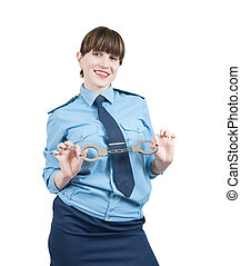 woman in uniform with manacles, isolated over white
