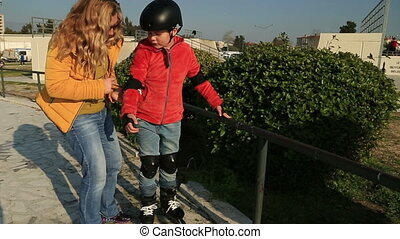 Young skater boy ready to ride - Young boy (9 years old)...