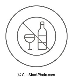 No alcohol sign line icon - No alcohol sign line icon for...