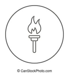 Burning olympic torch line icon. - Burning olympic torch...